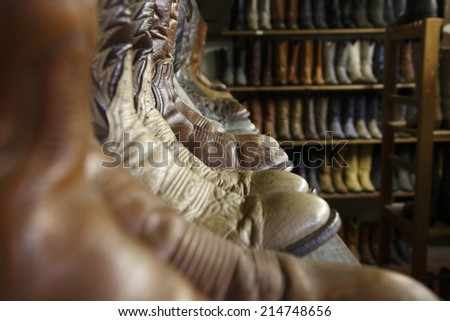 Vintage cowboy boots in Houston texas - stock photo