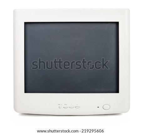 Vintage CRT computer monitor on white background - stock photo