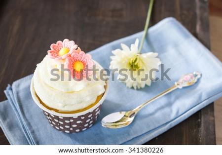 Vintage cupcake - stock photo