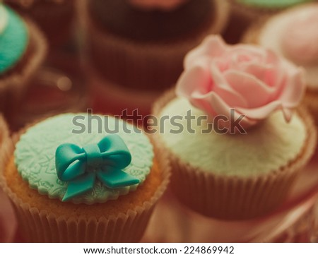 Vintage cupcakes - good food for party - stock photo