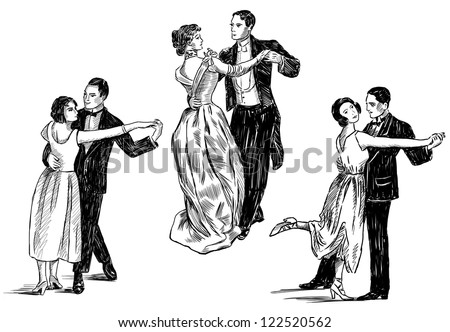 vintage dancing couples - stock photo
