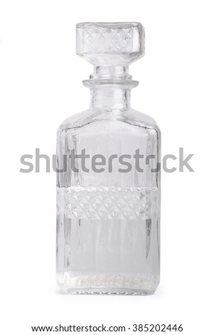 Vintage decanter isolated on white background - stock photo
