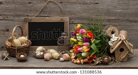 vintage decoration with eggs. nostalgic wooden background - stock photo
