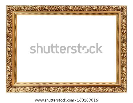 Vintage decorative antique frame, isolated on white background - stock photo