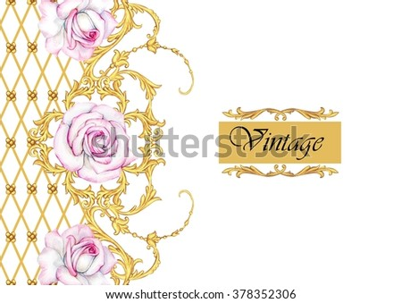 Vintage decorative border with roses - stock photo