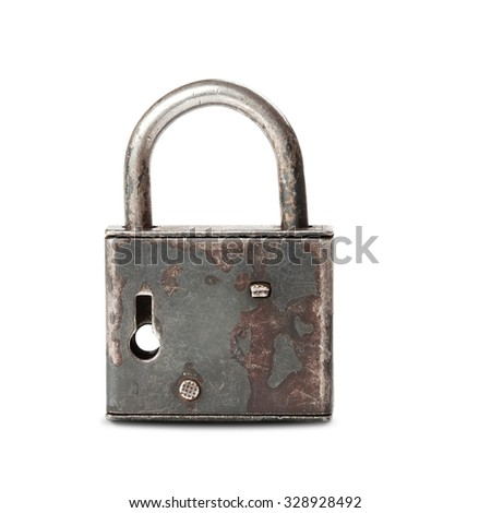 Vintage design rusty padlock locked. metal material, textured, gray color. key hole view. white background