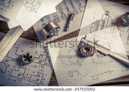 Vintage designer desk of mechanical parts - stock photo