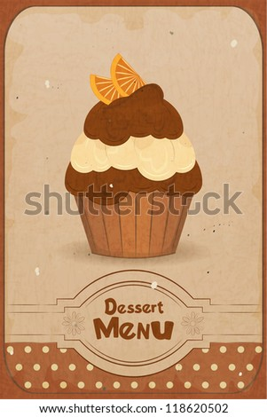 Vintage dessert menu - a muffin with orange on retro background - JPEG version - stock photo