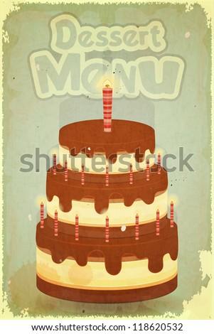 Vintage Dessert Menu - Chocolate Cake with candles on retro background - JPEG version - stock photo