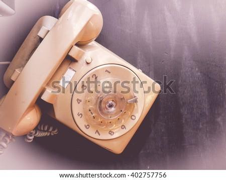 vintage dial phone - stock photo