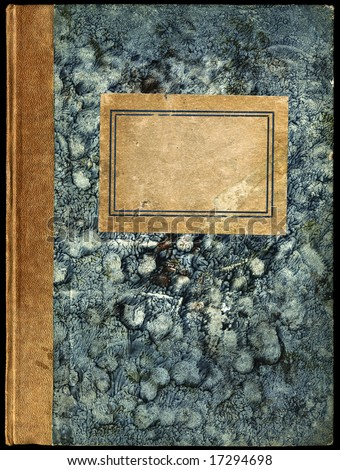 Vintage diary - notebook with empty label - grainy surface - stock photo