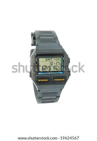Vintage digital wristwatch with databank and scheduler - stock photo