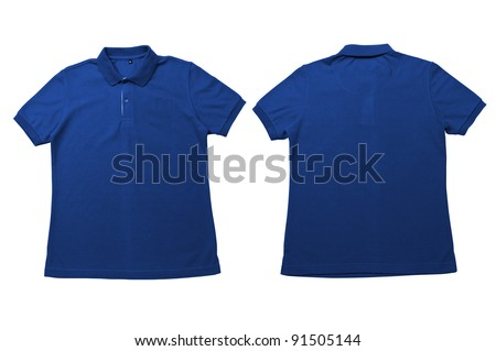 Vintage Dimmed blue color  Polo Shirt with white background Men Front and back Polo Shirt - stock photo