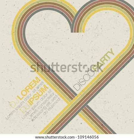 Vintage disco party invitation with heart shaped lines. Abstract flyer design. Raster version, vector file available in portfolio - stock photo