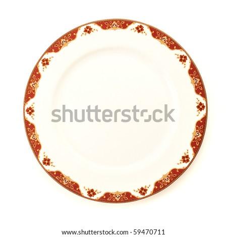 vintage dish on white background. - stock photo