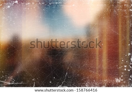 Vintage distressed blurry old photo background with light leaks - stock photo