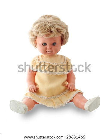 vintage doll in original clothes from 1960 - stock photo