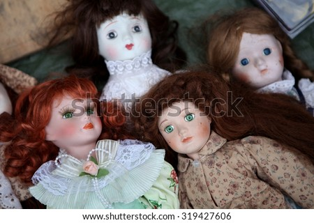 vintage dolls - stock photo
