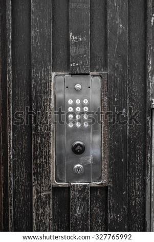 Vintage door electronic key system to lock and unlock doors - stock photo