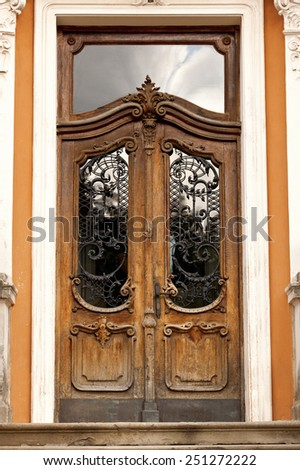 vintage doors with glass - stock photo