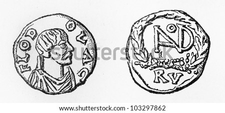 Vintage drawing of a silver coin from the Odoacer period (476-493) - Picture from Meyers Lexikon book (written in German language) published in 1908 Leipzig - Germany.