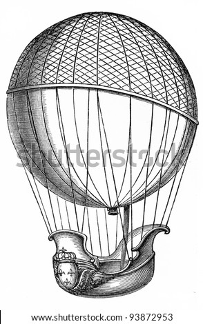 Vintage drawing of 1783 Charles and  Robert brothers  balloon - Picture from Meyers Lexicon books collection (written in German language ) published in 1908 , Germany. - stock photo