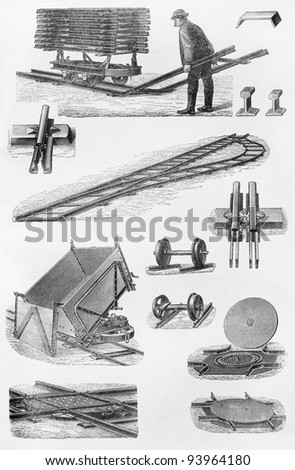 Vintage drawing of railways construction and technology - Picture from Meyers Lexicon books collection (written in German language ) published in 1908 , Germany. - stock photo