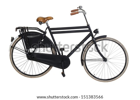 Vintage dutch bicycle isolated on white. Including clipping path - stock photo