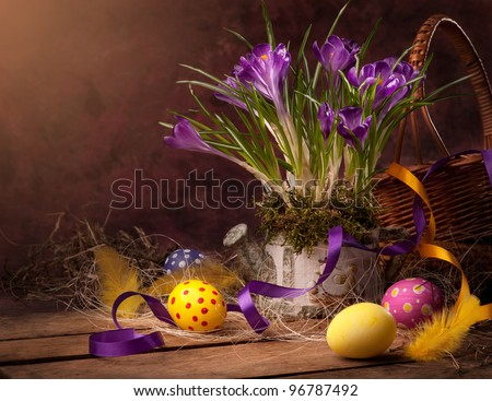 vintage Easter card, spring flowers on a wooden background - stock photo