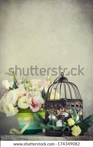 vintage easter decoration with eggs - stock photo