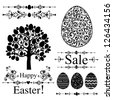 Vintage Easter Set. Collection of design elements isolated on White background.  illustration - stock vector