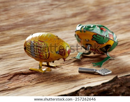 Vintage Easter Toys on wood - stock photo