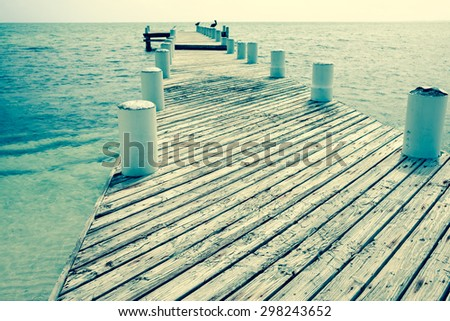 Vintage effect image old jetty projecting out to sea with pelicans on end piles. - stock photo