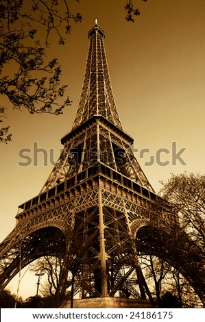 Vintage Eiffel Tower (Paris, France) - stock photo
