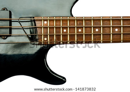 Vintage Electric Bass guitar isolated over a white background - stock photo