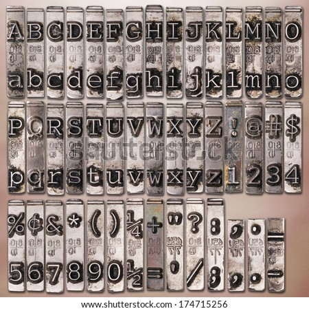 Vintage electric typewriter alphabet from the 50's - stock photo