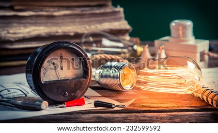 Vintage electrical lab at school - stock photo