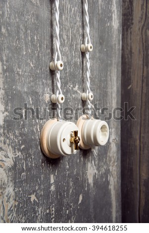 Vintage Electrical Switches Electrical Outlet On Stock Photo (Edit ...