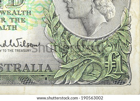 Vintage elements of paper banknotes, old Australian Dollar 1961-1965 - stock photo