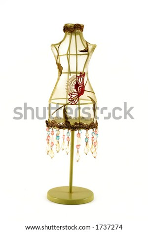 Vintage embroidered manikin/dress model with beads - stock photo