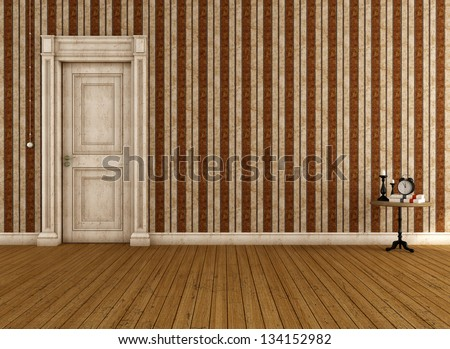 Vintage empty room with striped wallpaper and dirty door - rendering - stock photo