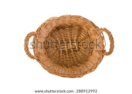 Vintage empty weave wicker basket isolated on white background - stock photo