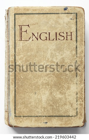 vintage English pupil book isolated on white  - stock photo