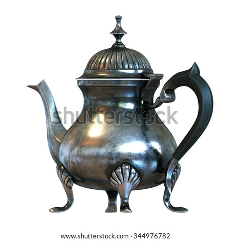 Vintage English style coffee pot isolated on white . Back version. 3D render