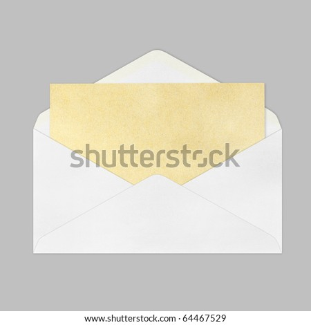 Vintage Envelope with blank Brown paper on gray background.