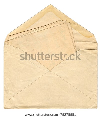 Vintage envelope with old letter - stock photo
