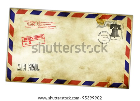 Vintage envelope with USA stamps isolated on white. - stock photo
