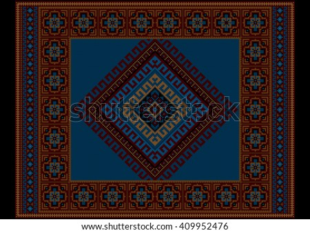 Vintage ethnic dark burgundy carpet with blue at the middle  - stock photo