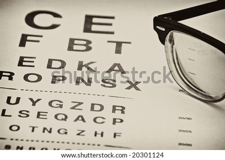 vintage eyechart with old fashioned eyeglasses off to the side - stock photo