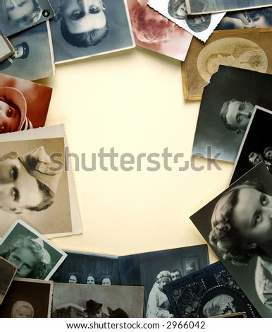 Vintage eyes. Very old photographs as frame - stock photo